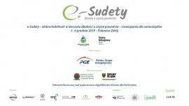 Plakat informacyjny o konferencji  E-Sudety oraz organizatorzy i sponsorzy